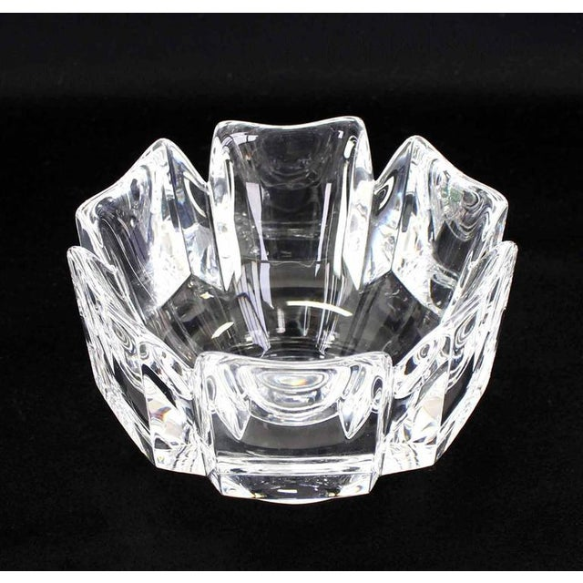 Crystal Pair of Heavy Crystal Bowl Vases by Orrefors For Sale - Image 7 of 9