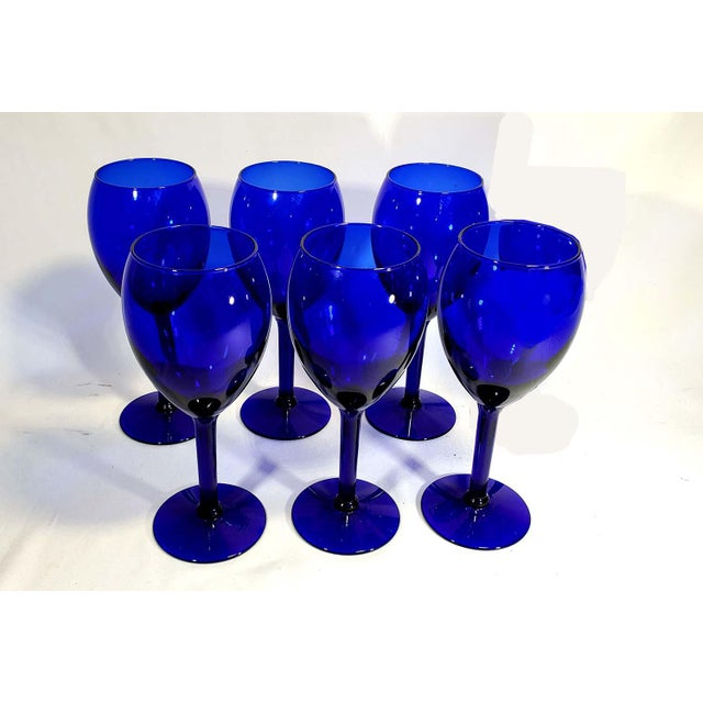 Contemporary Late 20th Century Cobalt Blue Glass Stem Goblets - Set of 6 For Sale - Image 3 of 4
