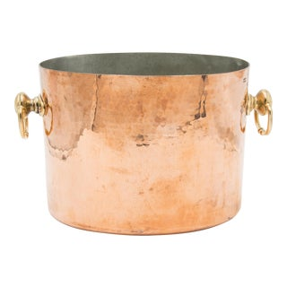 Antique French Hammered Copper Double Champagne Bucket For Sale