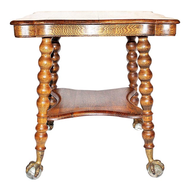 19th Century Americana Tiger Oak Claw-Foot Side Table For Sale