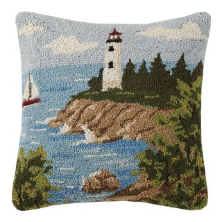 """Lighthouse View Hook Pillow, 16"""" x 16"""" For Sale"""