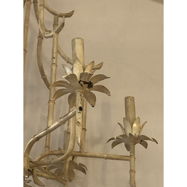 Hollywood Regency classic pagoda style faux bamboo iron and tole chandelier painted a chippy off-white with 6 arms,...