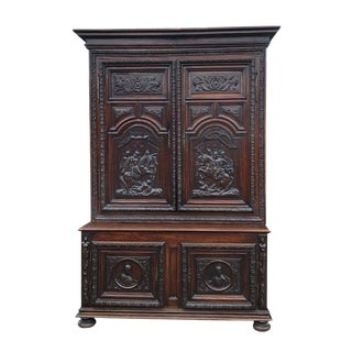 16th Century Hand Carved Wood Armoire For Sale