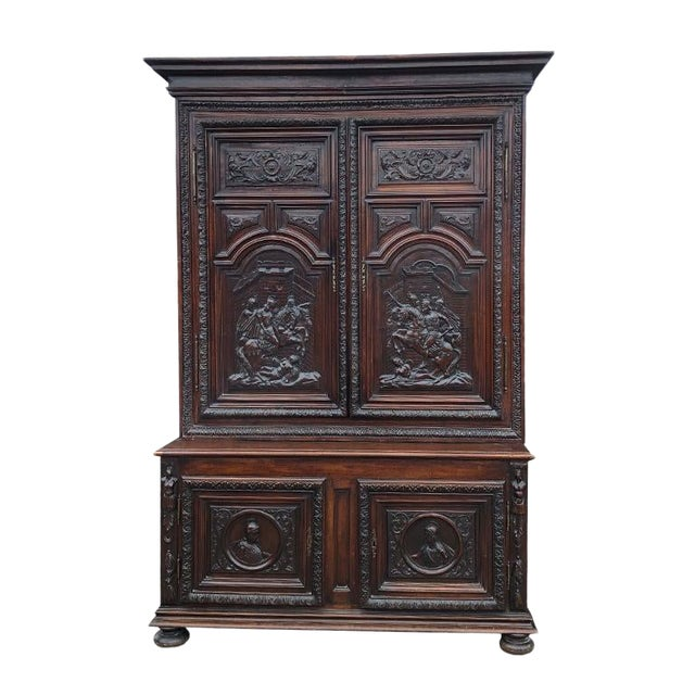 17th Century Renaissance Hand Carved Wood Armoire of Knights and Hunting Scene France For Sale