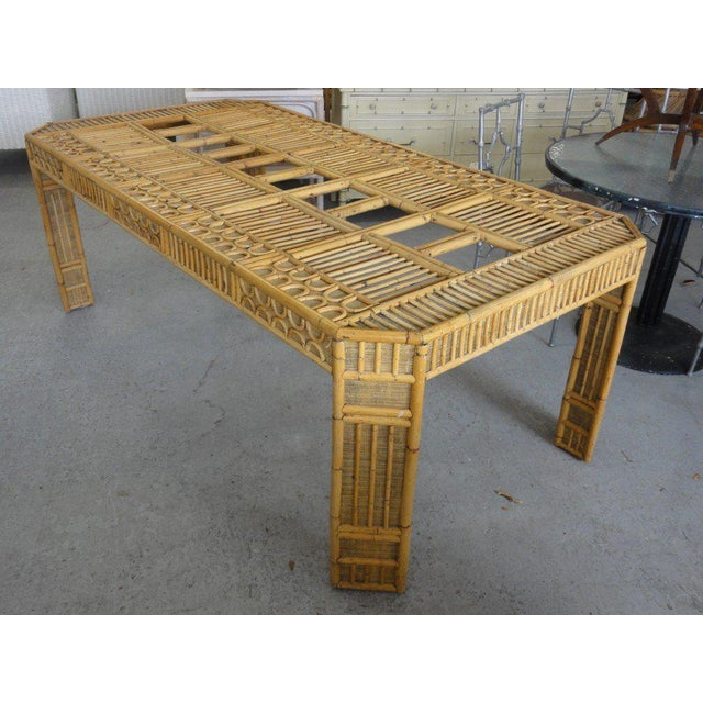 Intricate Natural Bamboo Dining Table For Sale - Image 11 of 13