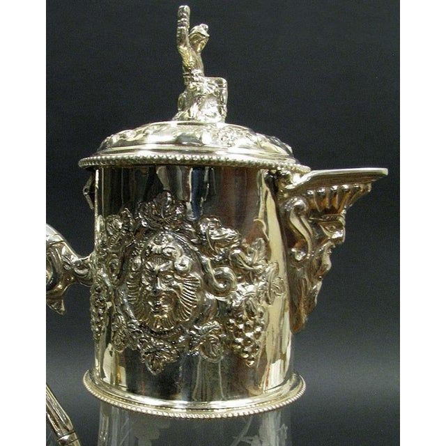 English Sliver Plated and Engraved Glass Claret Jugs - a Pair For Sale In Atlanta - Image 6 of 10