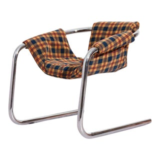 1970s Vecta Zermatt Chrome Sling Armchair For Sale