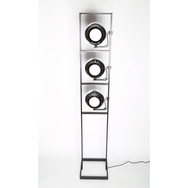 1970s 1970's VINTAGE ITALIAN THREE-HEAD CHROME AND STEEL FLOOR LAMP For Sale - Image 5 of 8