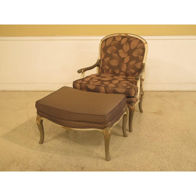 Upholstered Arm Chair & Matching Ottoman For Sale - Image 11 of 11