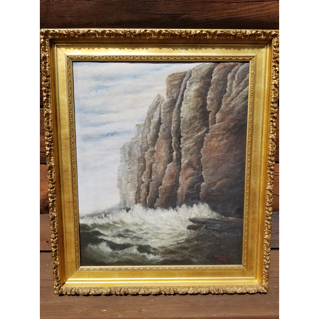 Beautifully done antique seascape oil painting signed M. E Lothrop and dated 1903. The painting and frame are in extremely...