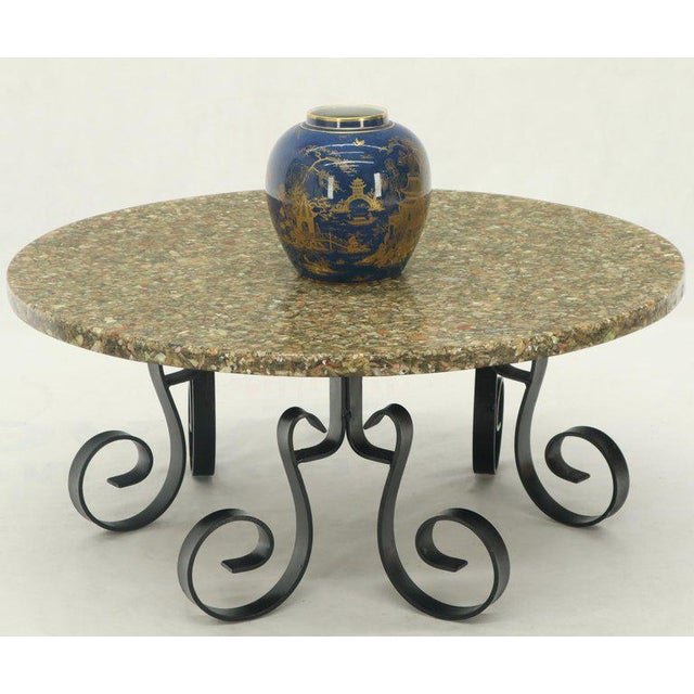 Shell Wrought Iron Base Abalone Composite Round Top Coffee Table For Sale - Image 7 of 9