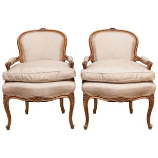 19th Century Louis XV Carved Fauteuils - Pair