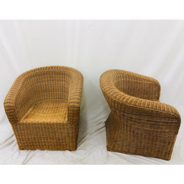 Mid 20th Century Pair Vintage Woven Wicker Club Chairs For Sale - Image 5 of 10