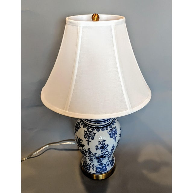 Blue and White Ceramic Lamp For Sale - Image 10 of 13