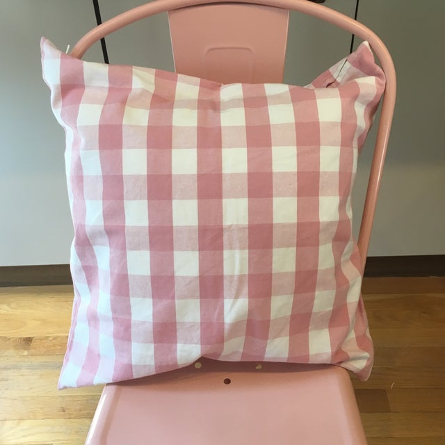 Cottage Pink Gingham Pillow Cover For Sale - Image 3 of 7
