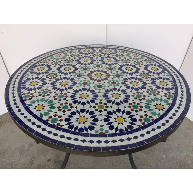Mid 20th Century Moroccan Outdoor Mosaic Tile Table From Fez in Traditional Moorish Design For Sale - Image 5 of 9