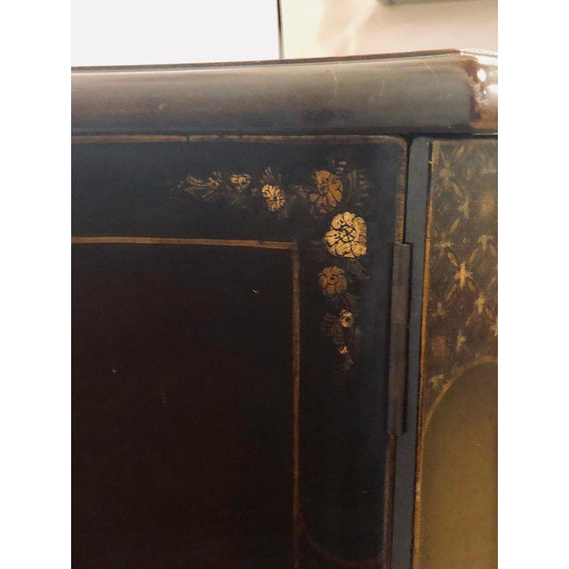 Ebony Fine Custom Quality Ebony Chinoiserie Commode or Cabinet Server For Sale - Image 7 of 13