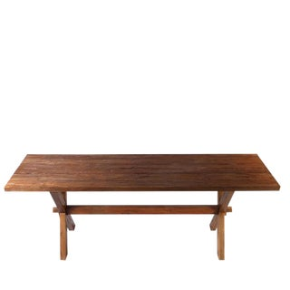 Rustic Brown Teak Farmer Table For Sale