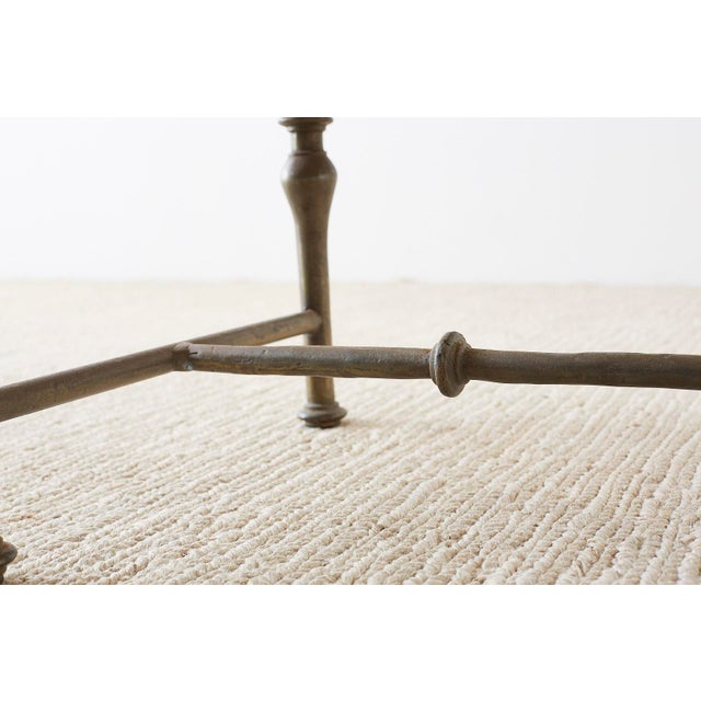 Italian Hollywood Regency Marble-Top Brass Cocktail Table For Sale - Image 9 of 13