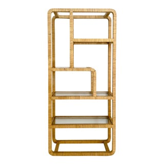 Mid Century Modern Rattan Wrapped Etagere/Display Case For Sale