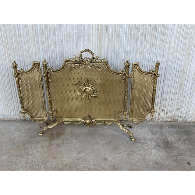 19th Century French Louis XVI Style, Three-Panel Bronze Fire Screen For Sale - Image 4 of 9