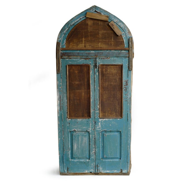 Rustic Jodhpur Church Door With Mirror For Sale - Image 3 of 4