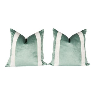 Greek Key Green Velvet Pillows - A Pair For Sale