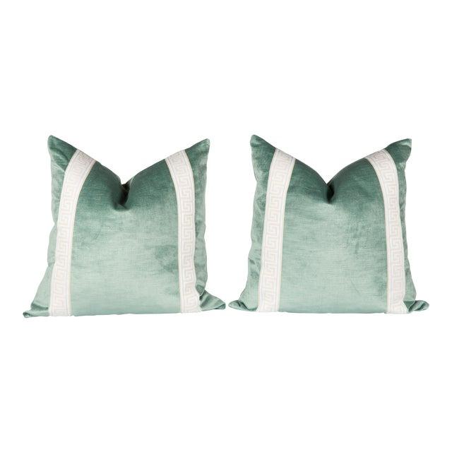Greek Key Green Velvet Pillows - A Pair For Sale