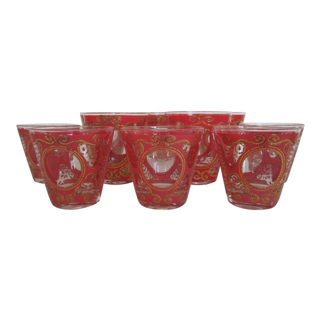 Culver 1970s Red & Gold Rocks Glasses - Set of 10 - Image 1 of 11