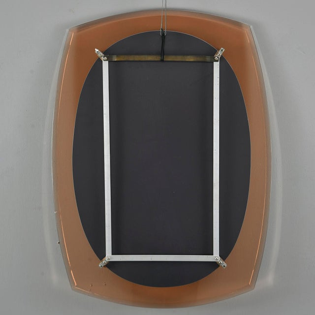 Orange Cristal Arte Oval Mirror With Pale Coral Glass Frame For Sale - Image 8 of 10