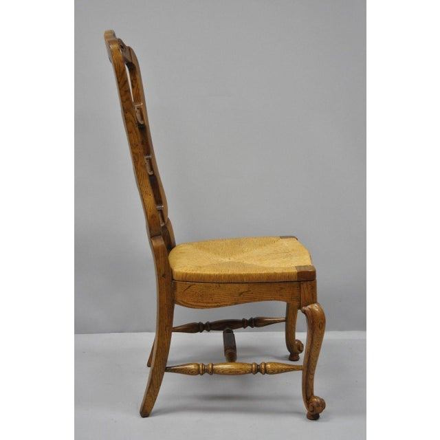 Bernhardt Country French Woven Rush Seat Oak Wood Ladder Back Dining Chair For Sale - Image 10 of 13
