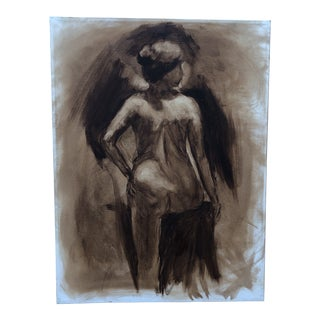 1990s En Grisaille Female Nude From the Rear Painting For Sale