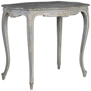 French Painted and Carved Blue Side Table For Sale