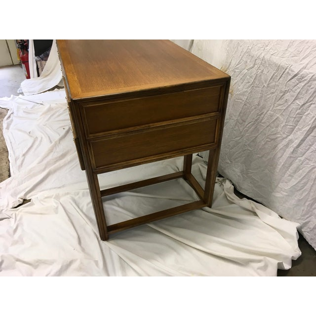 McGuire McGuire Oak and Rattan Desk For Sale - Image 4 of 10