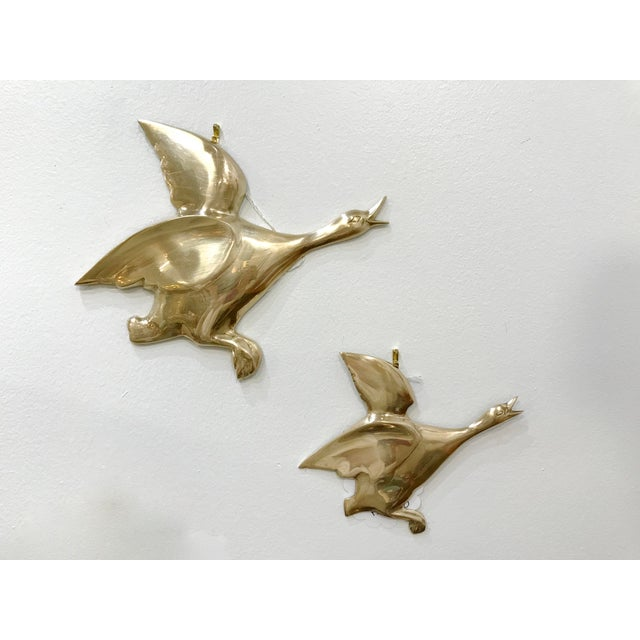 Mid 20th Century Flying Brass Geese Wall Hangings - a Pair For Sale - Image 4 of 4