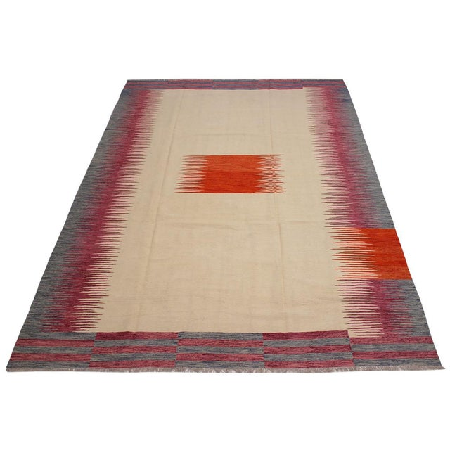 2000 - 2009 Modern Bauhaus Ardath Ivory/Rust Hand-Woven Kilim Wool Rug - 8'11 X 11'11 For Sale - Image 5 of 8