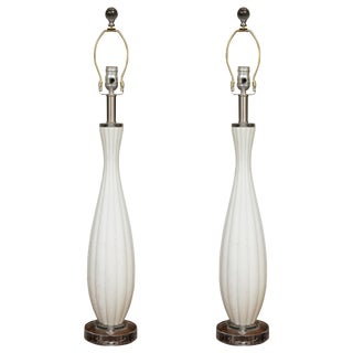 Venetian Glass Table Lamps - a Pair For Sale