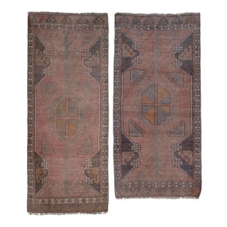 "Muted Turkish Pair Rug - Anatolian Scatter Rug 1'6"" X 3'7"" For Sale"