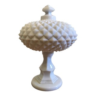 Milk Glass Raised Compote Container