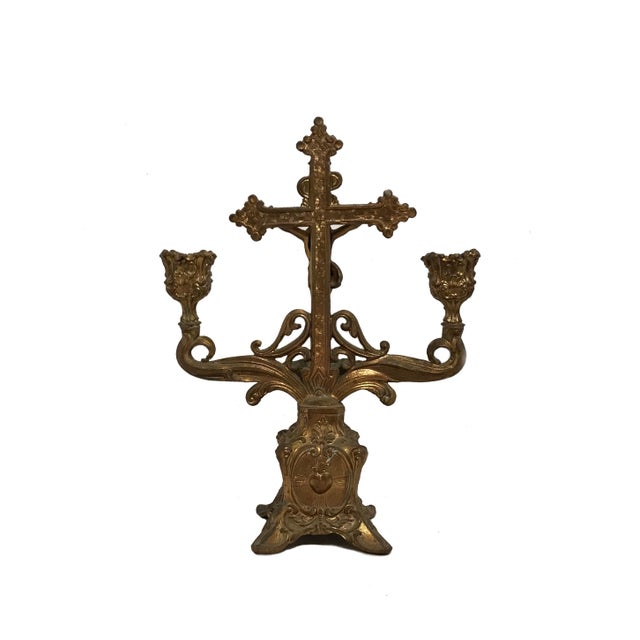 Beautiful solid brass holy water font candelabra, with gold overlay. Jesus on the holy cross with a shell shaped holy...