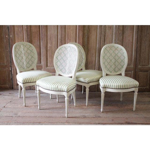 Wood Louis XVI Style French Painted Cane Back Dining Chairs -Set of 4 For Sale - Image 7 of 11
