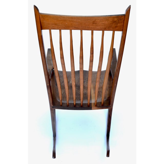 Brown Hand-Crafted Wooden Rocking Chair For Sale - Image 8 of 9