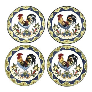 Green Talavera Rooster Tapas Plates, Set of 4 For Sale