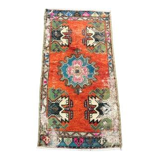 Turkish Decorative Oushak Handmade Small Rug - 1′8″ × 3′4″ For Sale