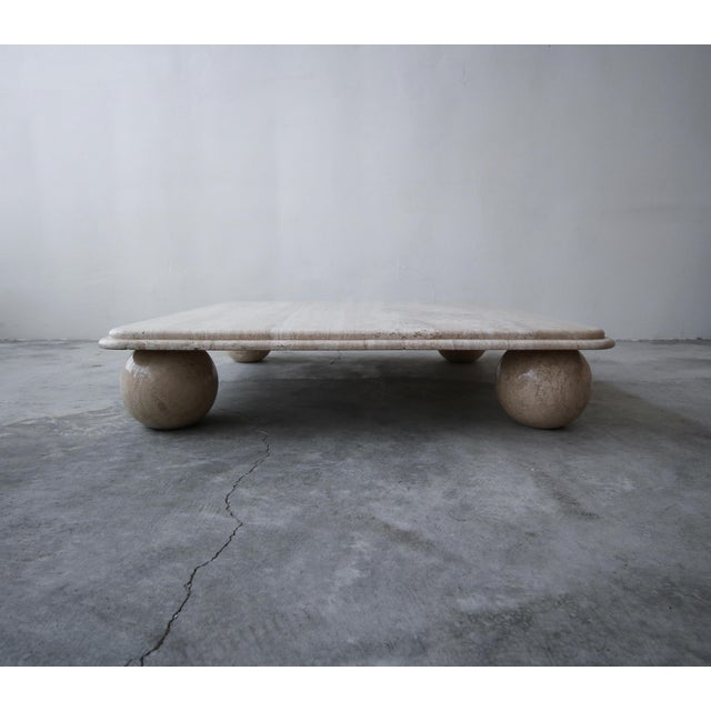 Mid-Century Modern Post Modern Square Low Profile Travertine Coffee Table Round Ball Legs For Sale - Image 3 of 6