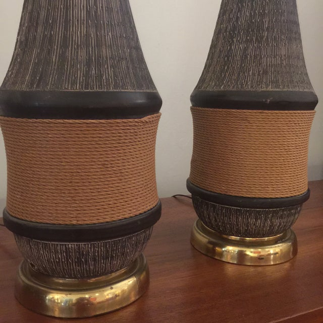 Brown Bitossi Italy Ceramic Rope Lamp, 1960s - A Pair For Sale - Image 8 of 11