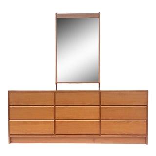 Scandinavian Modern Teak Dresser With Mirror For Sale