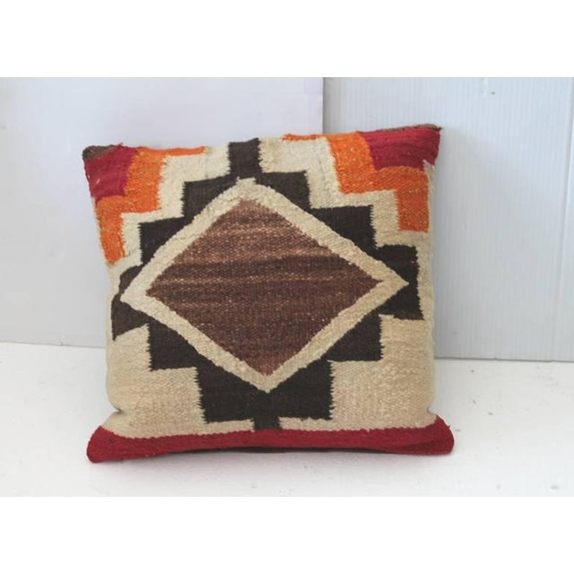 Early 20th Century Pair of Early Navajo Indian Weaving Pillows For Sale - Image 5 of 5
