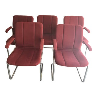 1970s Mid-Century Modern Chromcraft Cantilever Chairs - Set of 5