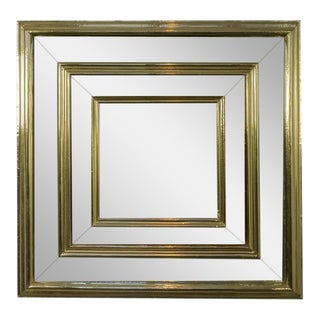 Large French Brass Framed Mirror For Sale
